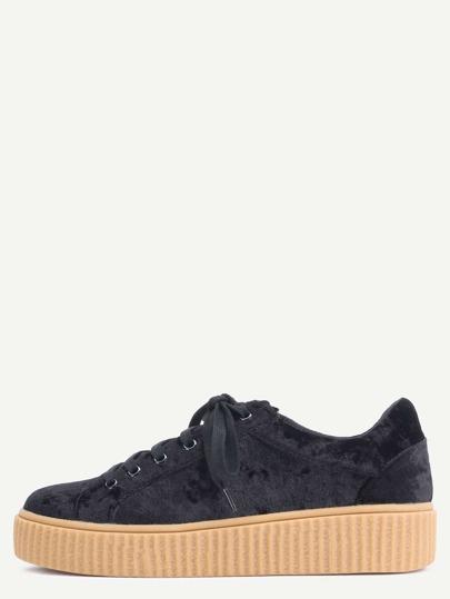 Zapatillas faux suede plataforma - negro
