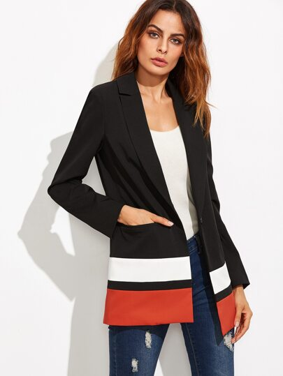Black Single Button Pockets Blazer