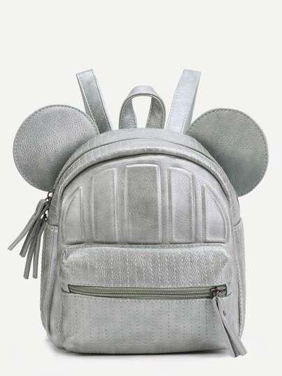 Faux Leather Front Zipper Backpack With Ear