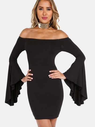 Off the Shoulder Bell Sleeved Mini Dress BLACK
