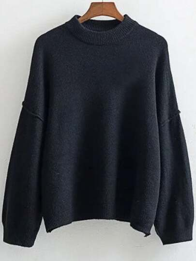 Crew Neck Drop Shoulder Ribbed Trim Sweater