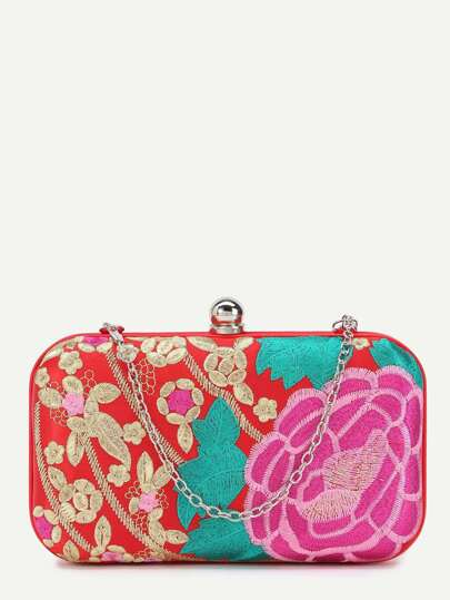 Red Floral Embroidery PU Evening Bag