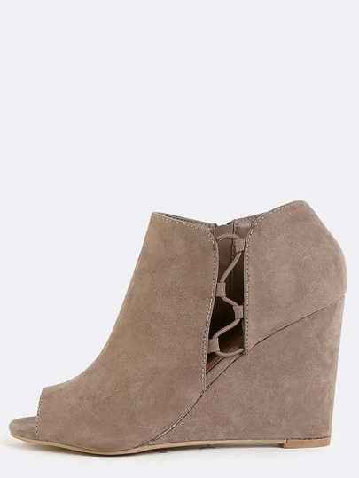 Side Lace Wedge Booties TAUPE