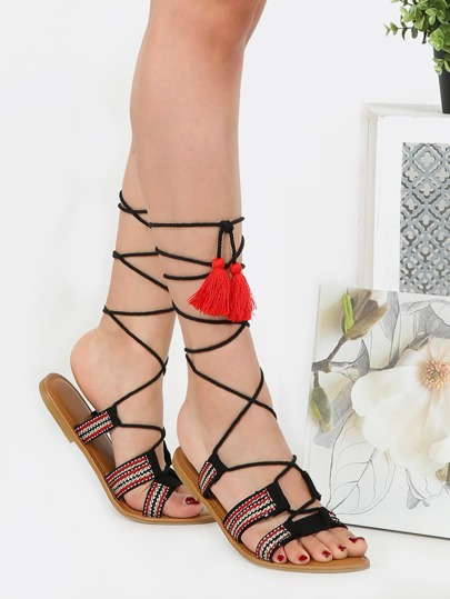 Lace Up Rope Gladiator Sandals BLACK