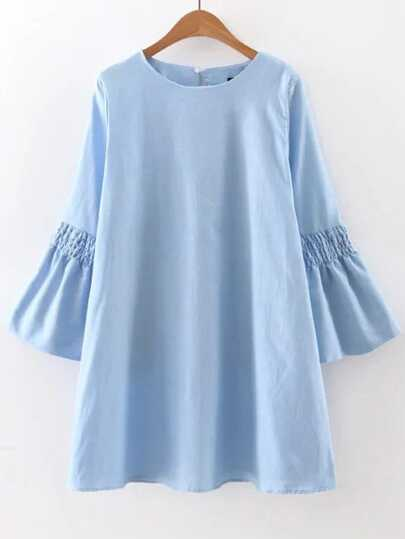 Blue Bell Sleeve Button Back Shift Dress