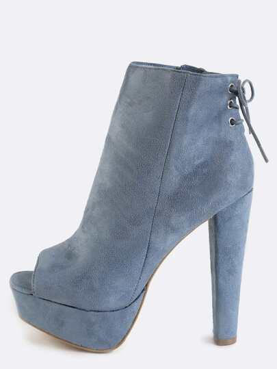 Thick Platform Lace Back Suede Boots BLUE