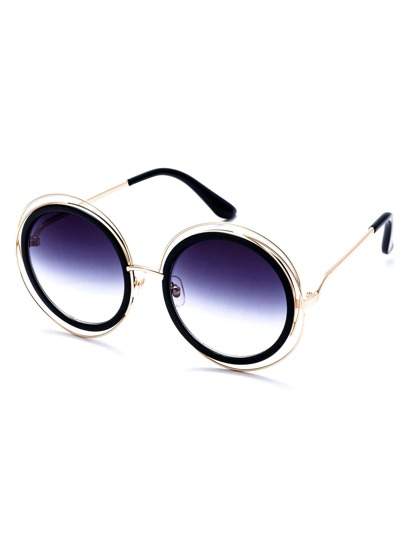 Gold Frame Purple Round Lens Sunglasses