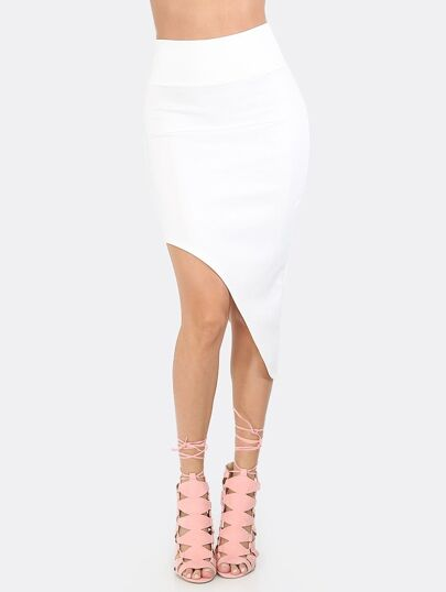 Asymmetrical Curved Hem Skirt