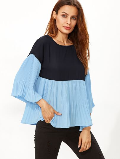 Color Block Bell Sleeve Pleated Top