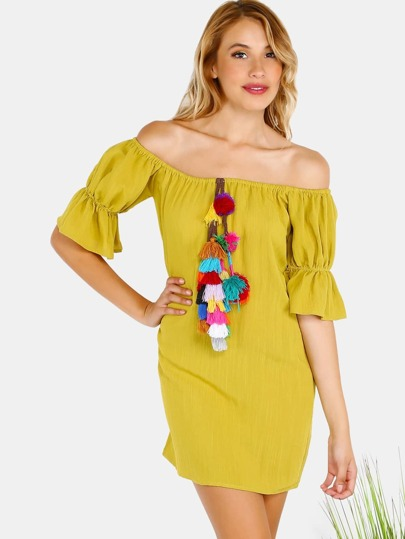 Open Shoulder Tassel Pom Dress MUSTARD