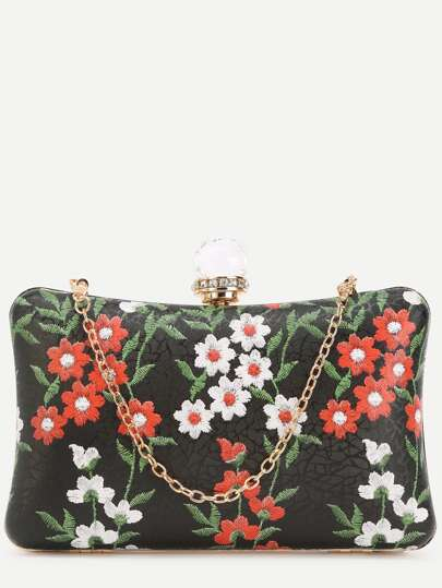 Black PU Floral Print Jewelled Evening Bag