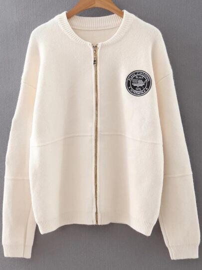 White Embroidery Patch Zipper Sweater Coat