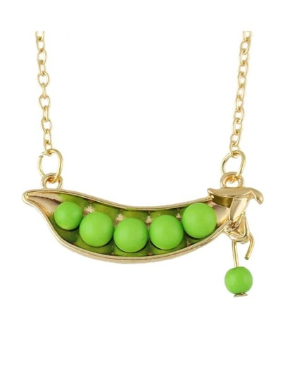 New Coming Green Beads Peas Pendant Necklace