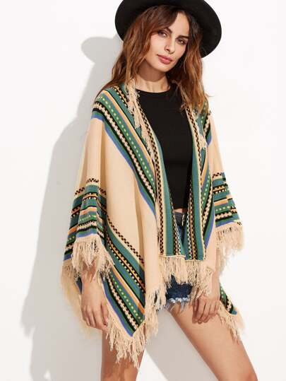 Apricot Fringe Detail Poncho Sweater
