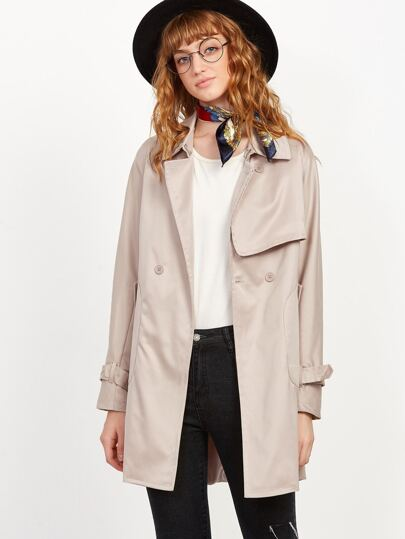 Khaki Double Breasted Pocket Trench Coat