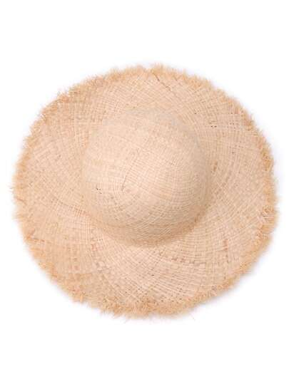 Raw Edge Raffia Straw Hat