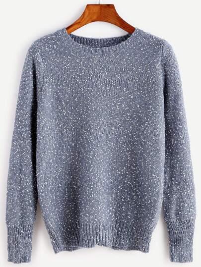 Blue Split Back Fleck Sweater