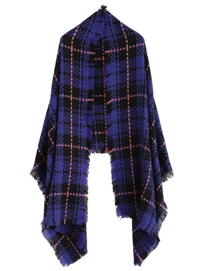 Purple Fringe Hem Plaid Scarf