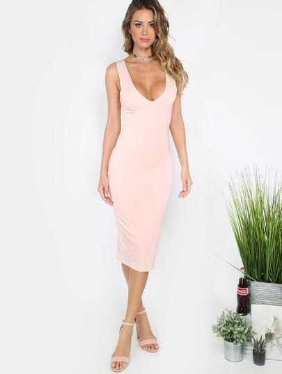 Pink Scoop Neck Backless Sleeveless Sheath Dress