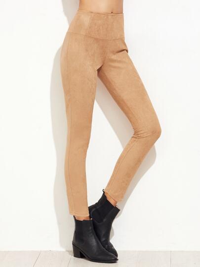 Pantalones ajustados de ante con cintura elástica - kaki
