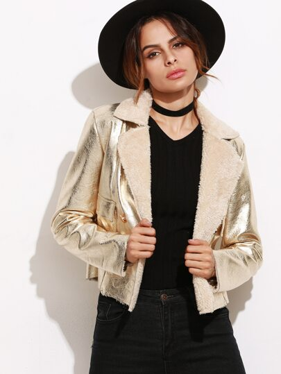Gold Faux Shearling Double Breasted Jacket