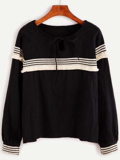 Black Tie Neck Embroidered Tape Detail Blouse
