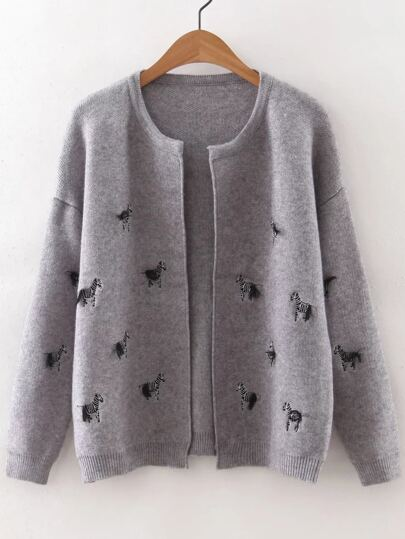 Grey Horse Embroidery Drop Shoulder Cardigan