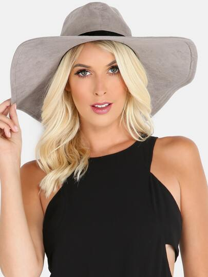 Faux Suede Wide Brim Hat GREY