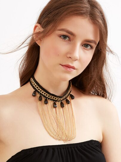 Black Chain Fringe Rhinestone Trim Choker Necklace