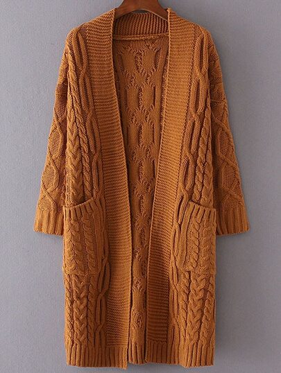 Khaki Drop Shoulder Pocket Cable Knit Long Cardigan