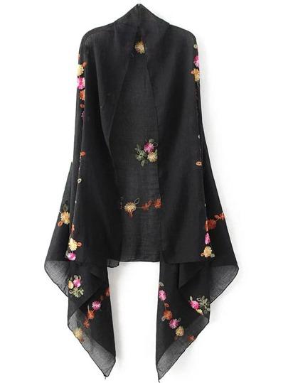 Black Flower Embroidery Vintage Scarf