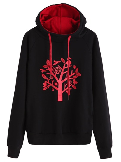 Black Tree Print Raglan Sleeve Drawstring Hooded Sweatshirt