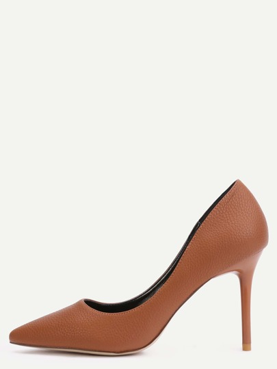 Brown Faux Leather Point Toe Heels
