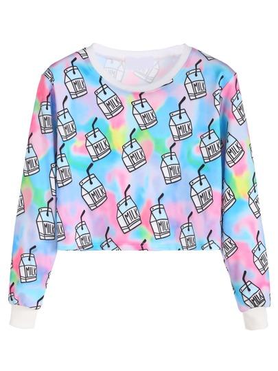 Multicolor Milk Box Print Crop Sweatshirt