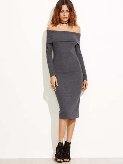 Dark Grey Off The Shoulder Pencil Dress