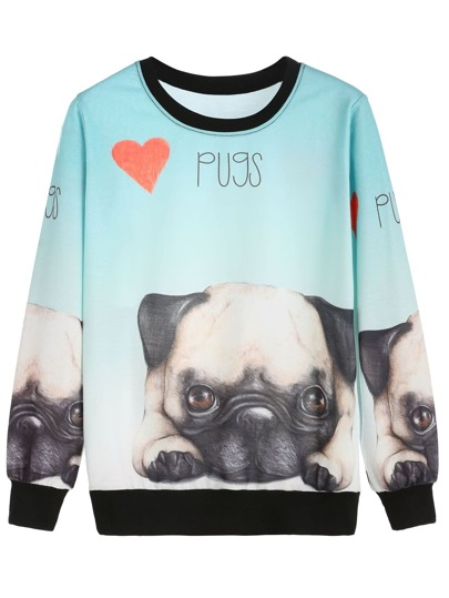 Contrast Trim Dogs Print Sweatshirt