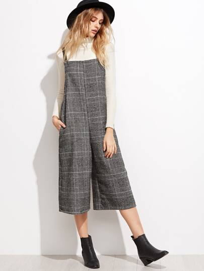 Grey Glen Plaid Wide Leg Jumpsuit