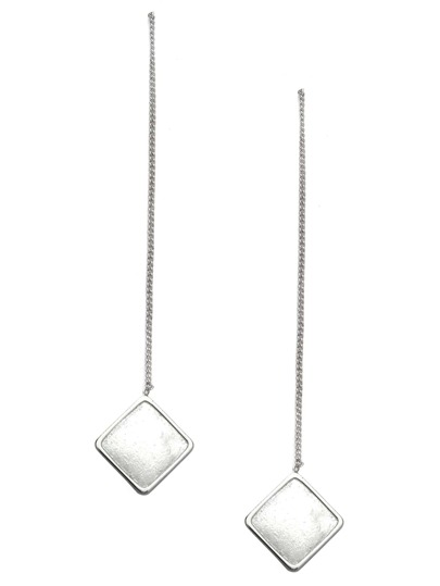 Silver Plated Square Long Drop Earrings