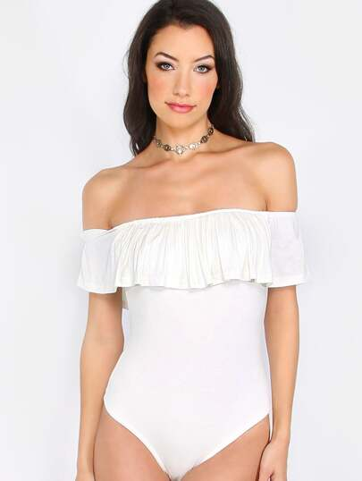 White Ruffle Off The Shoulder Bodysuit