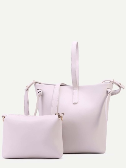Beige Faux Leather Shoulder Bag Set
