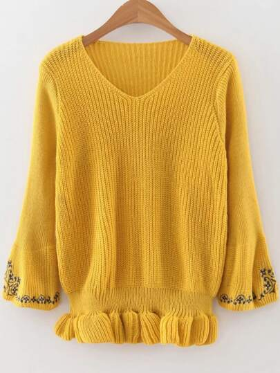 Yellow V Neck Embroidery Sleeve Peplum Sweater