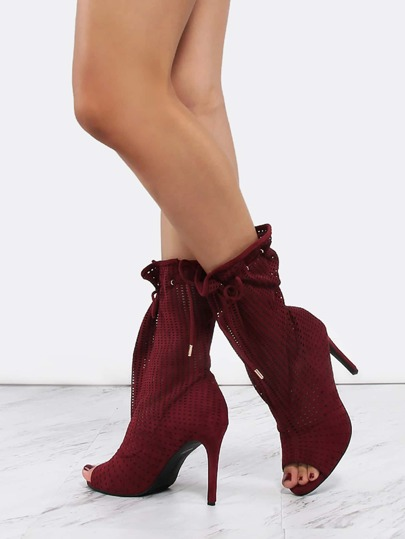 Slouchy Preforated Stiletto Boots BURGUNDY