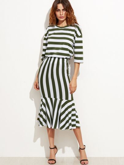 Striped Drop Shoulder Seam Top With Mermaid Skirt