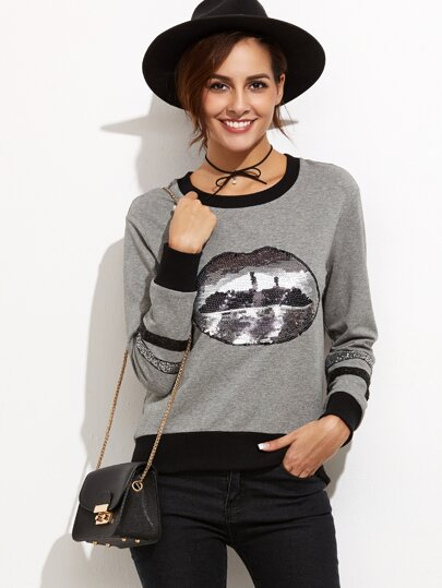 Heather Grey Contrast Trim Sweatshirt With Sequin Detail