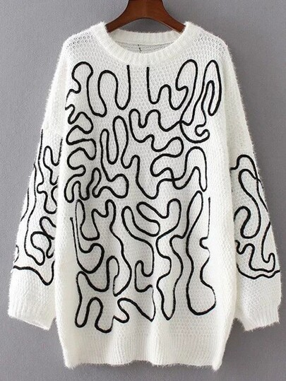 White Abstract Print Slouchy Sweater