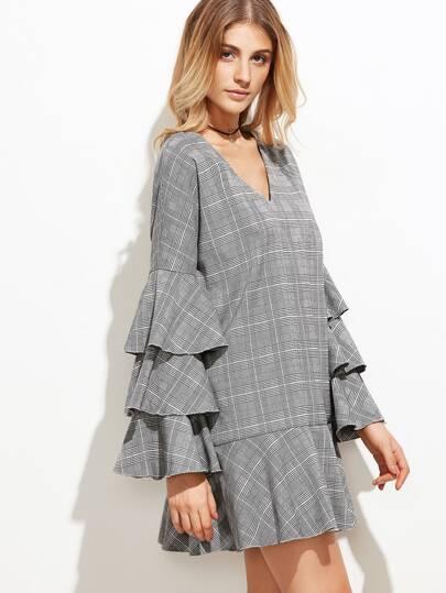 Grey Plaid Layered Bell Sleeve Drop Waist Dress