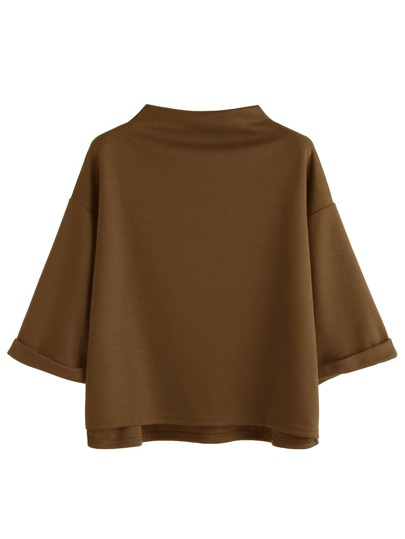 Funnel Neck Drop Shoulder Rolled Sleeve Dip Hem T-shirt