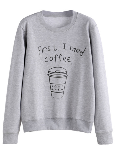 Coffee Cup Print Casual Pullover