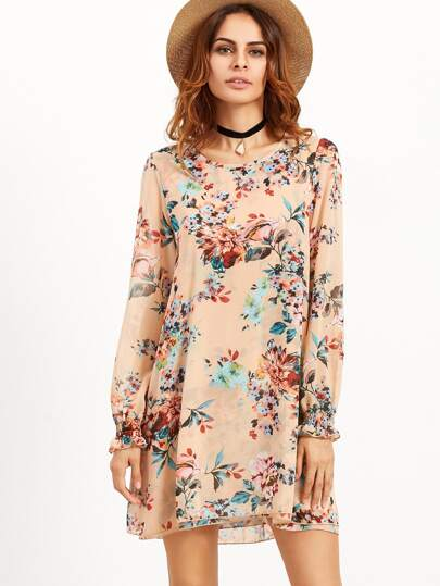 Robe tunique imprimé floral - rose