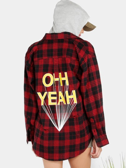 Ohh Yeah Distressed Plaid Flannel RED